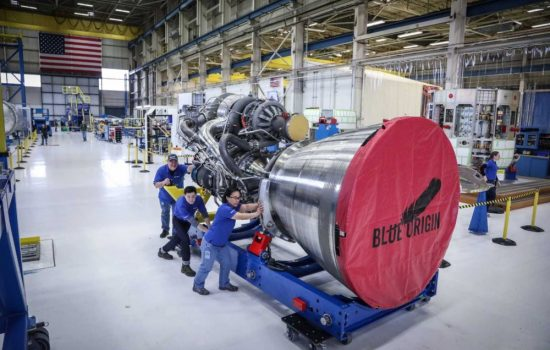 The first completed BE-4 engine. Image courtesy of Blue Origin.