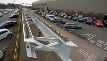 The first two pairs of girders have been completed and loaded out for the 300-mile journey from the firm's factory in Darlington to the bridge's location in the North East of Scotland – image courtesy of Cleveland Bridge.