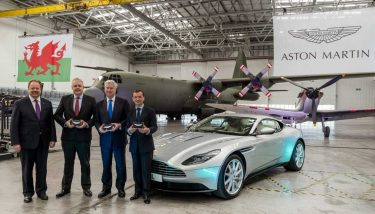 L to R: Dr Andy Palmer (Aston Martin), Welsh First Minister, Carwyn Jones, Secretary of State Sir Michael Fallon, and Secretary of State for Wales, Alun Cairns – image courtesy of Aston Martin.