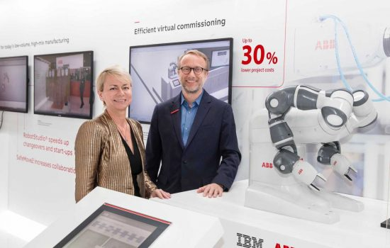 Harriet Green, general manager of Watson IoT, Customer Engagement and Education for IBM, and Guido Jouret, chief digital officer of ABB.