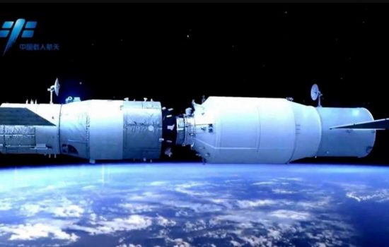 Tianzhou-1 sucessfully docked with the Tiangong-2 space lab. Image courtesy of China Manned Space
