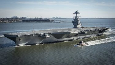 The USS Gerald R. Ford is the US's largest and most advanced aircraft carrier. Image courtesy of the US Navy.