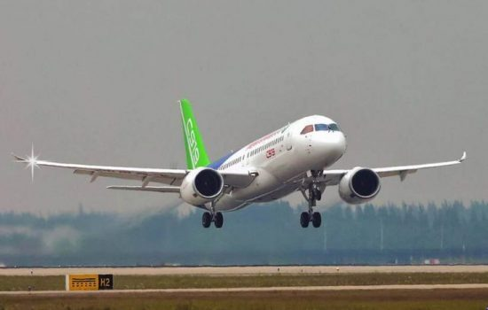 The Comac C919 flies for the first time. Image courtesy of Comac.