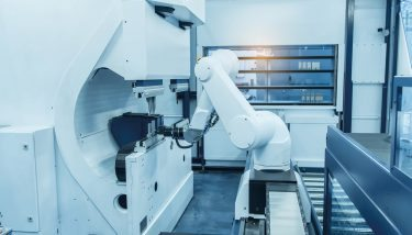 Interconnected Systems Manufacturing Robot Automation Stock Image