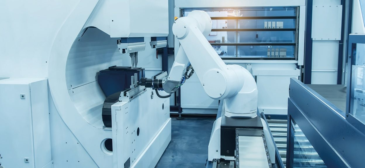 CROP - Interconnected Systems Manufacturing Robot Automation Stock Image