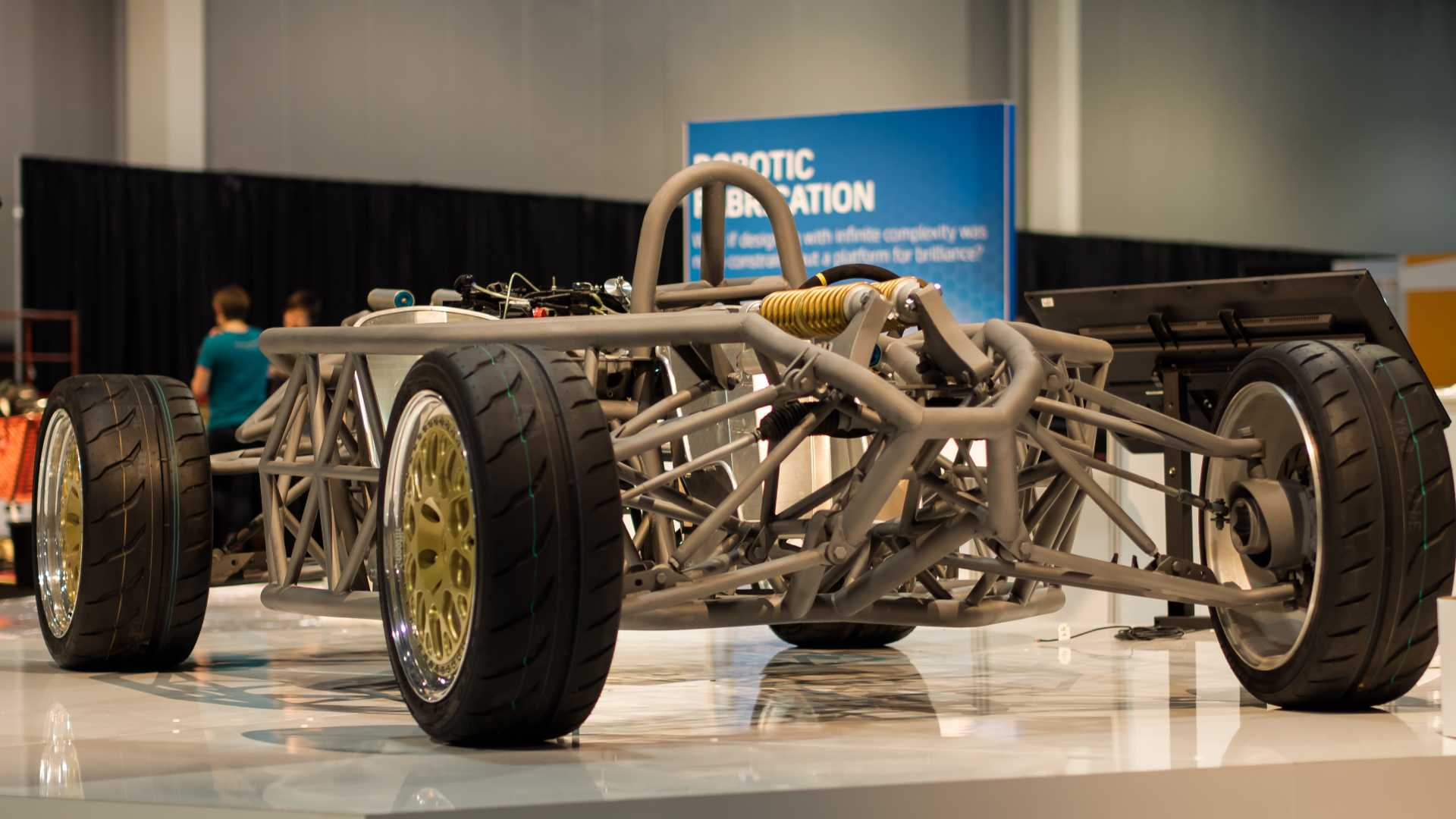 Innovative vehicle chassis – the 'Hackrod' – created using Autodesk's Dreamcatcher generative design software.