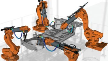 By simulating millions of potential robot path combinations, IPS Robot Optimisation maximises efficiency and avoid collisions – image courtesy of fleXstructures.