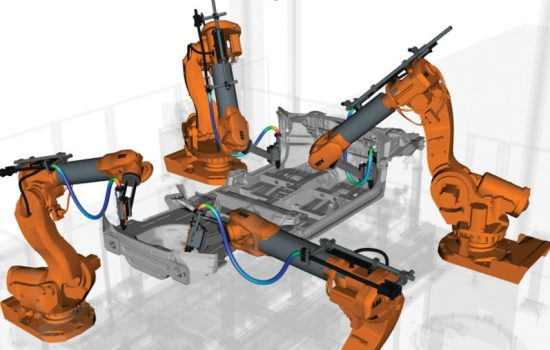 Robotics - By simulating millions of potential robot path combinations, IPS Robot Optimisation maximises efficiency and avoid collisions – image courtesy of fleXstructures.