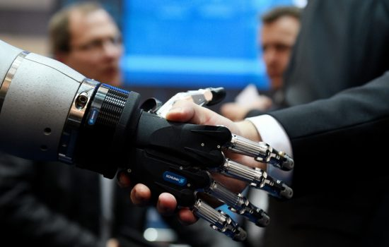 Hannover Messe -Digitisation - Collaborative robots or 'cobots' are about to fundamentally transform the way humans work in factories - image courtesy of Deutsche-Messe.presse@messe.de
