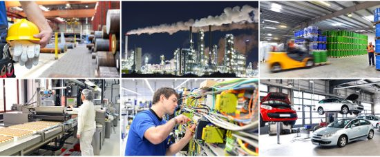 Various types of manufacturing in action that utilise smart technologies. Microsoft email header image - image courtesy of APS