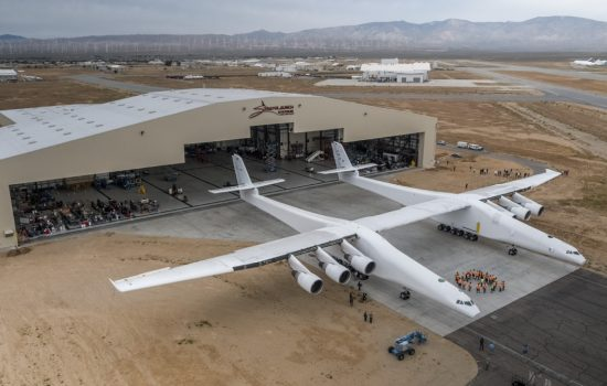 The Stratolaunch aircraft is the largest in the world by wingspan. Image courtesy of Stratolaunch Systems.