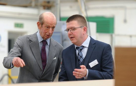 The Duke of Kent with Simon Langley, managing director of Heartbeat UK.