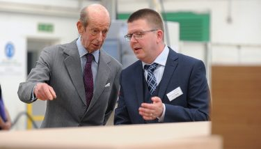 Training - The Duke of Kent with Simon Langley, managing director of Heartbeat UK.