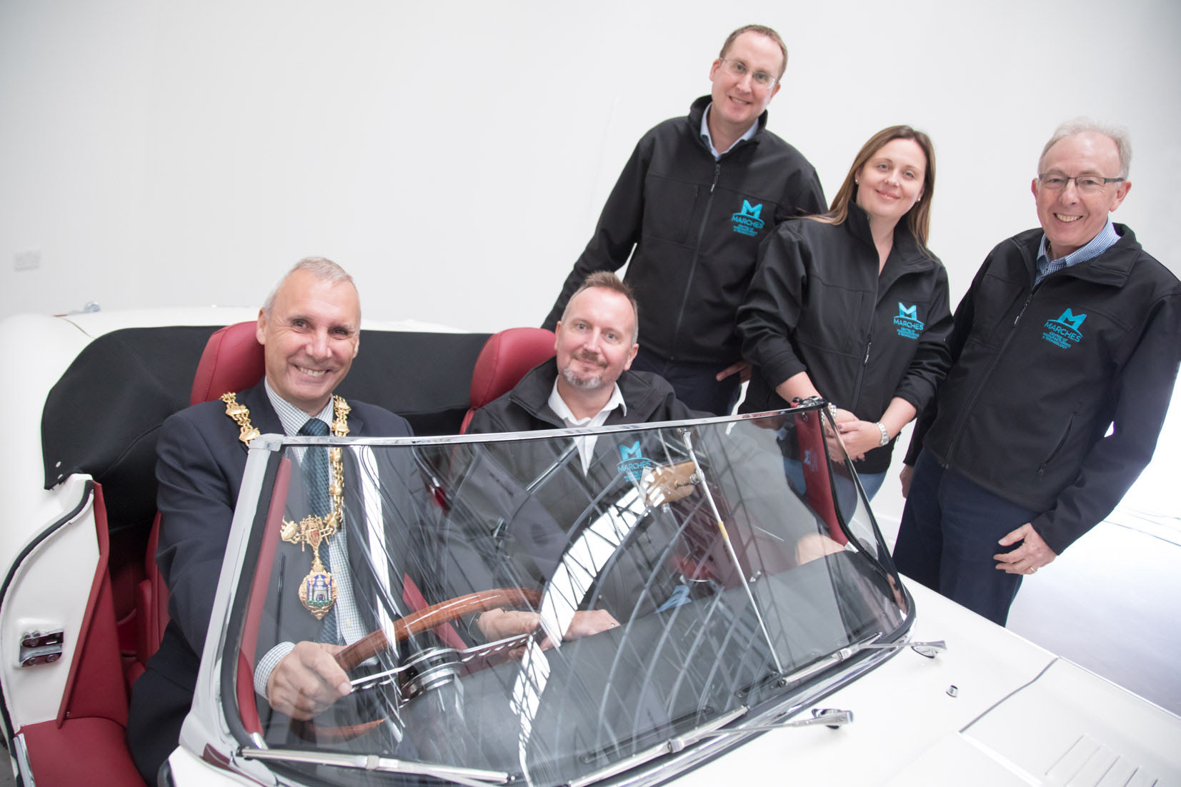 Training Hub - L to R: Cllr Ron Whittle (Mayor of Bridgnorth); Christopher Greenough (Salop Design & Engineering); Matthew Snelson (MCMT); Cllr Elliott Lynch; Bekki Phillips (In-Comm Training), and Mike Roe (Classic Motor Cars).