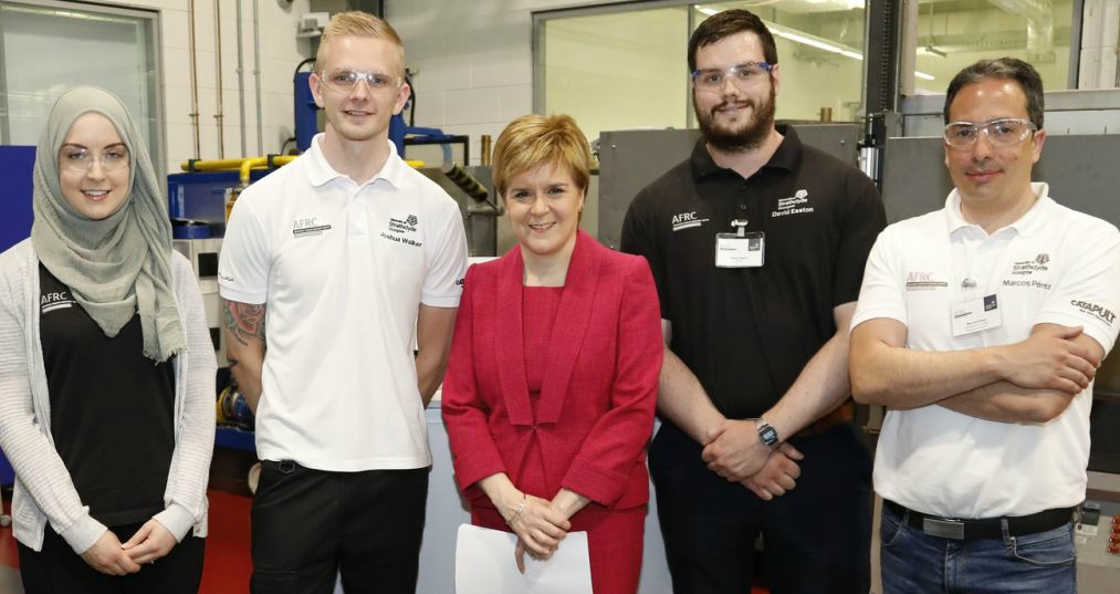 lightweight materials - First Minister Nicola Sturgeon (centre) hopes that the Lightweight Manufacturing Centre will deliver cutting-edge research and development projects with and for companies in Scotland – image courtesy of AFRC.