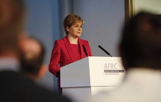 First Minister Nicola Sturgeon, who announced the new Lightweight Manufacturing Centre in front of 130 aerospace industry representatives – image courtesy of AFRC.