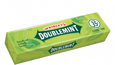 Doublemint was introduced as the third Wrigley brand, joining Wrigley's Spearmint® and Juicy Fruit® in the Wrigley brand family in 1914 - image courtesy of Wrigley .