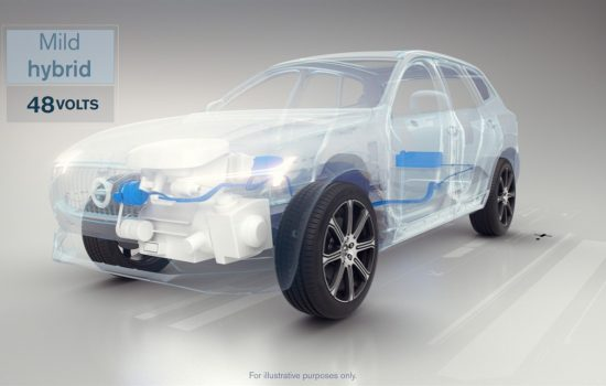 An illustration of a 'Mild Hybrid' that will make up one Volvo range of electrified cars to be launched between 2019 and 2021 - image courtesy of Volvo.