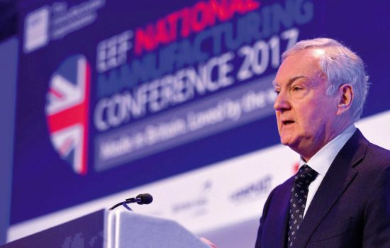 EEF's Terry Scuoler addressing the National Manufacturing Conference 2017 at the QEII Centre, London - image courtesy of EEF.