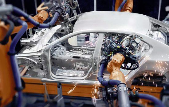 Robotics Automation Factory Automotive Production Line Robots - Stock Image