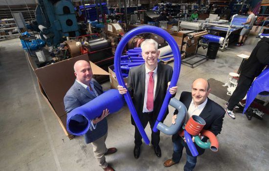 Productivity - L to R: Simon Lavin (Artel Rubber), Phil Peak (CWLEP Growth Hub), & Jacques Commeny (Artel Rubber).