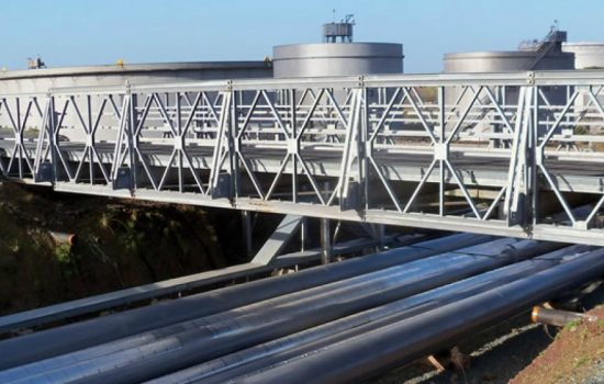 Mabey's Compact 200 system uses standard, interchangeable steel components to provide robust, rapidly deployed and erected solutions for permanent, temporary, footbridges and emergency bridging applications, among others – image courtesy of Mabey.