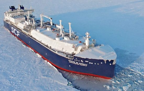 The Christophe de Margerie can break through thick ice without assistance. Image courtesy of Sovcomflot.
