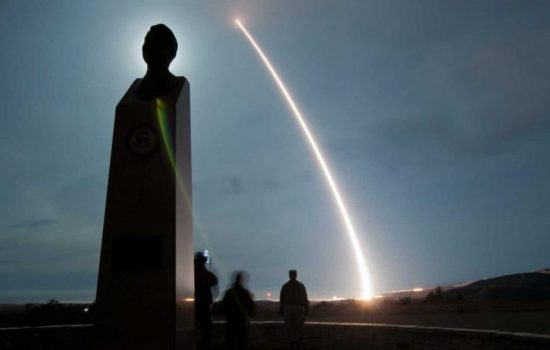 A Minuteman III ICBM missile launch. Image courtesy of the US Air Force.