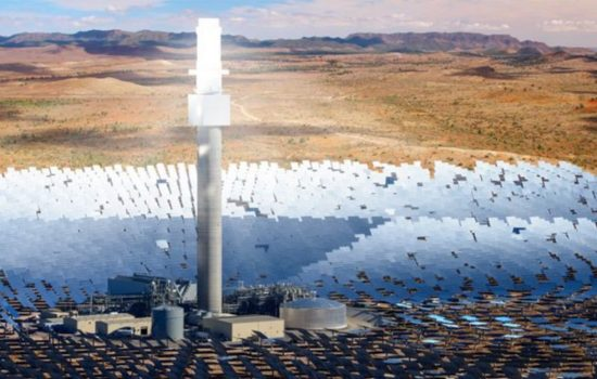 An artist's impression of the solar thermal plant to be built in SA. Image courtesy of Solar Reserve.