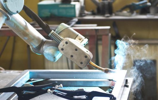 The UR5 collaborative robot was reportedly cheaper than buying a new, dedicated welding robot.- image courtesy of Universal Robots.