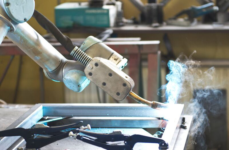 The UR5 collaborative robot was reportedly cheaper than buying a new, dedicated welding robot - image courtesy of Universal Robots.