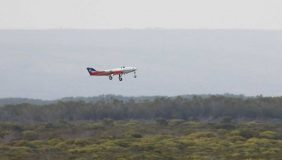 Airbus's SAGITTA unmanned aircraft test vehicle takes flight. Image courtesy of Airbus.