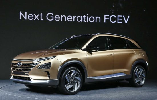 Hyundai Motors has hinted at the striking design and capabilities of its next generation hydrogen vehicle, which is due for release in 2018, at a preview event in South Korea - image courtesy of Hyundai.