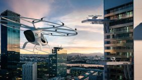 An artist's impression of a Volocopter air taxi service. Image courtesy of Volocopter.