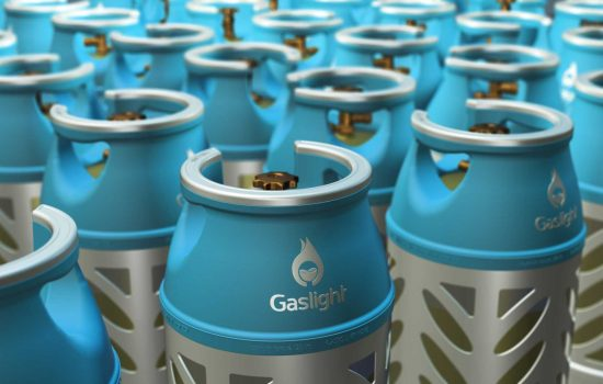 Gaslight cylinders are almost half the weight of traditional LPG cylinders, but with very similar volumes – image courtesy of Flogas.