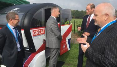 Prince William also took the opportunity to sit in the driverless pod - image courtesy of RDM Group