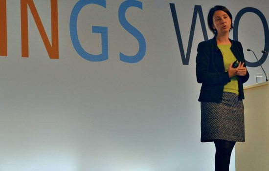 Christine Billaud, director business technology at Volvo CE, speaking at the event 'Industry of Things' in Berlin on 18 September.