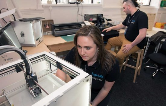 Barclays Eagle Labs provide access to resources including expert mentoring, event space, 3D printers and laser cutters.