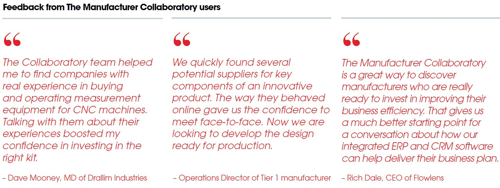 Feedback from The Manufacturer Collaboratory users