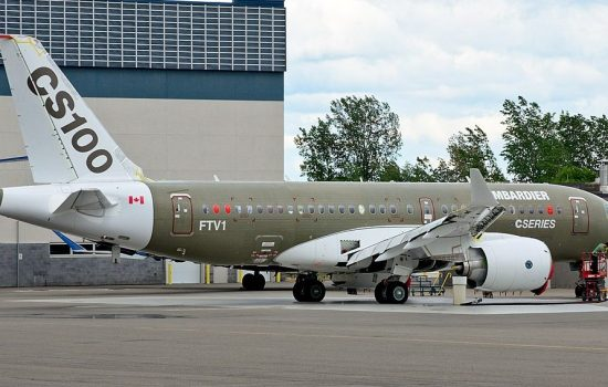 A Bombardier C-Series Jet. Image courtesy of Wikipedia - Alexandre Gouger