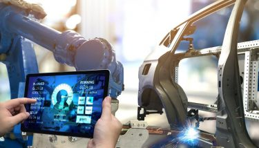 Automation Robotics Robots Data Industrial Internet IoT IIoT - Stock Image