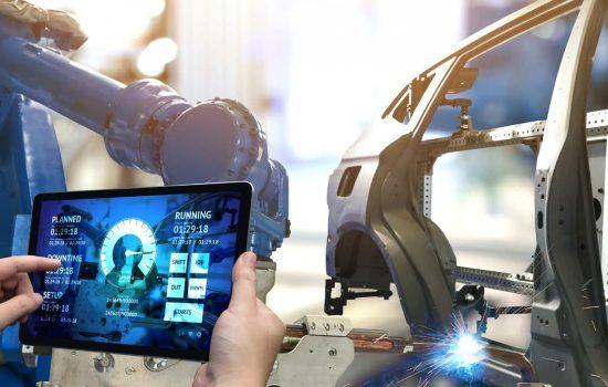 Automation Robotics Robots Data Industrial Internet IoT IIoT - Stock Image