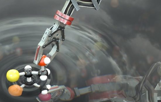 An artist's impression of the robot manipulating a molecule. Image courtesy of the University of Manchester.