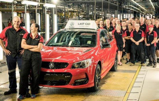 The last Holden car to be manufactured in Australia rolls of the production line. Image courtesy of Holden