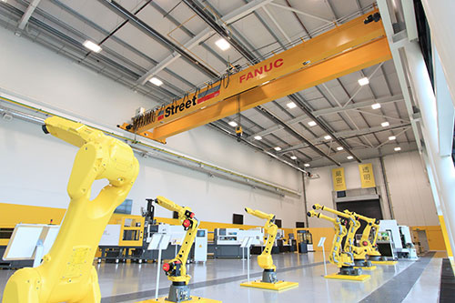 Street Cranes has supplied three double-girder cranes as part of the Fanuc's new 48,000 sqft workshop – image courtesy of Street Cranes.