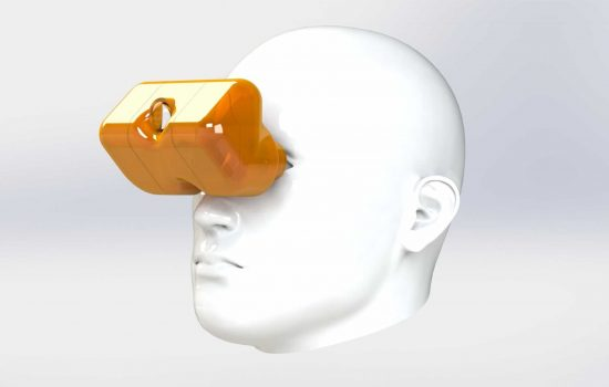 Translucent prototype enclosure for SingleReality headset optics (illustrated on child's head) - image courtesy of Real Space.