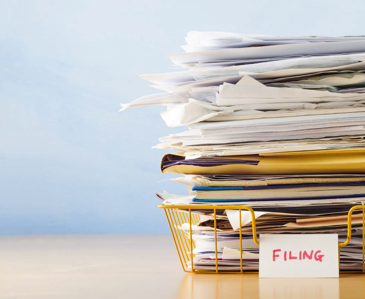 Paper Folders Filers Office Desk - Stock Image