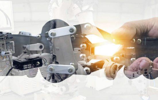 Digitalisation of Manufacturing Digital Tech Robot Automation Robotics - Stock Image