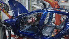 A Model 3 under construction on a Tesla assembly line. Image courtesy of Tesla.