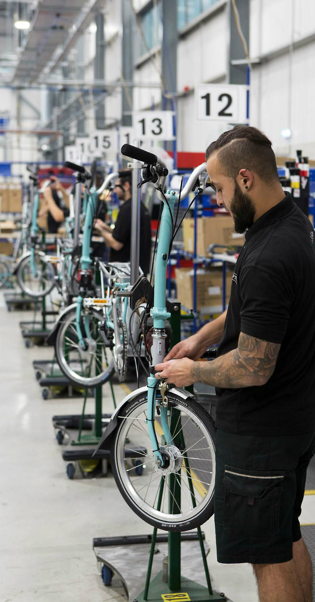 Brompton's in-house built barcode-based component tracking system enables mass-customisation - 16 million bicycle permutations are possible - image courtesy of Brompton.